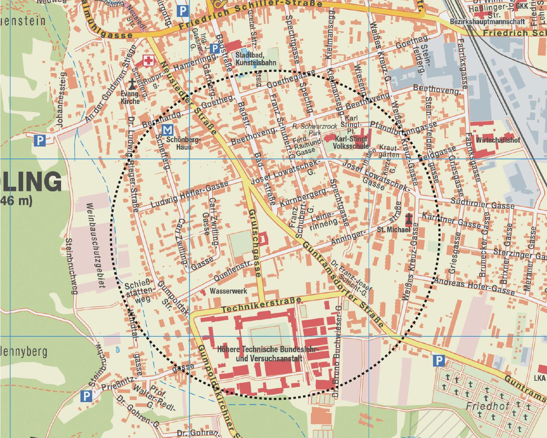 Eingrenzung des Neusiedlerviertels
