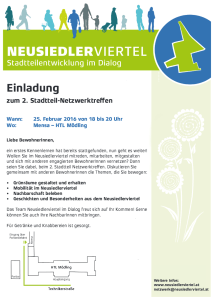 Einladung 2. Stadtteil-Netzwerktreffen