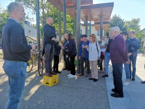 Fliegenspitz Besichtigung am 10.5.2019: Begrüßung Stadtrad Rainer Praschak